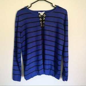 Blue and black striped calvin Klein sweater